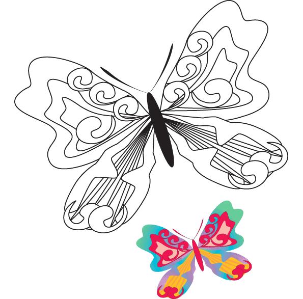 Ausmalbilder für Kinder Schmetterling