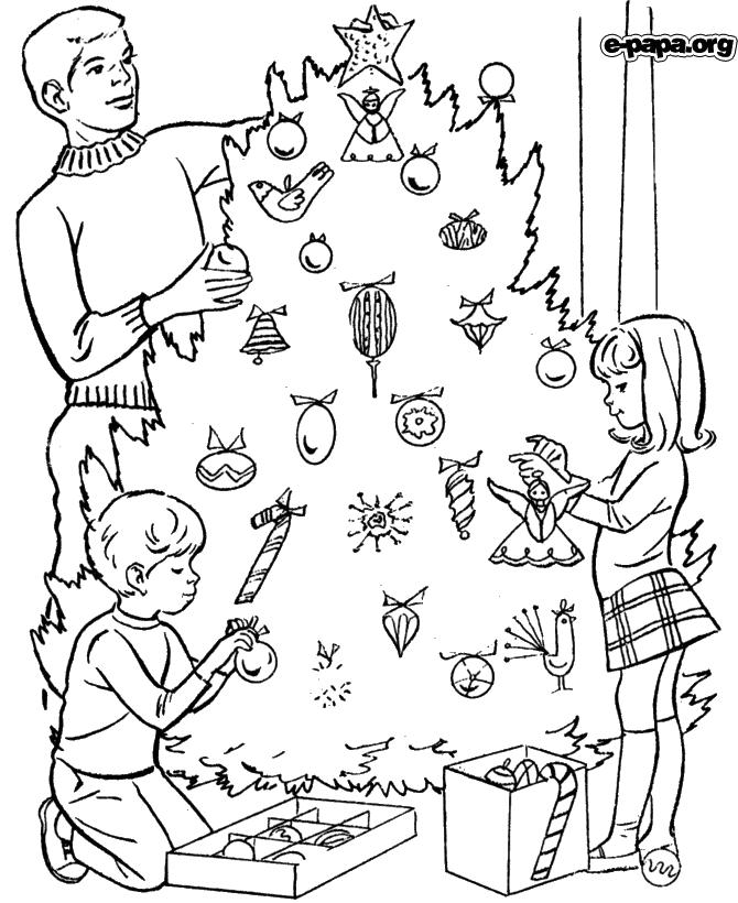Weihnachtsbaum geschmückt Ausmalbilder Winter