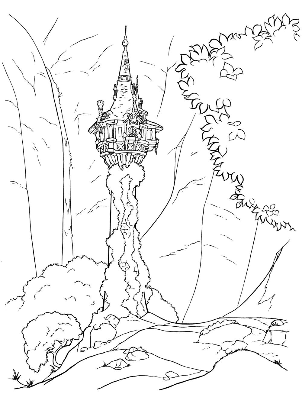 Ausmalbilder Rapunzel Maximus : Ausmalbilder F R Kinder Der Turm Im Wald