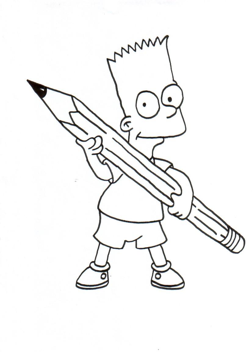 Ausmalbilder für Kinder Bart Simpson