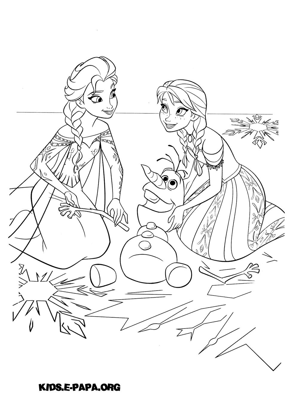 Ausmalbilder für Kinder Elsa, Olaf und Anna
