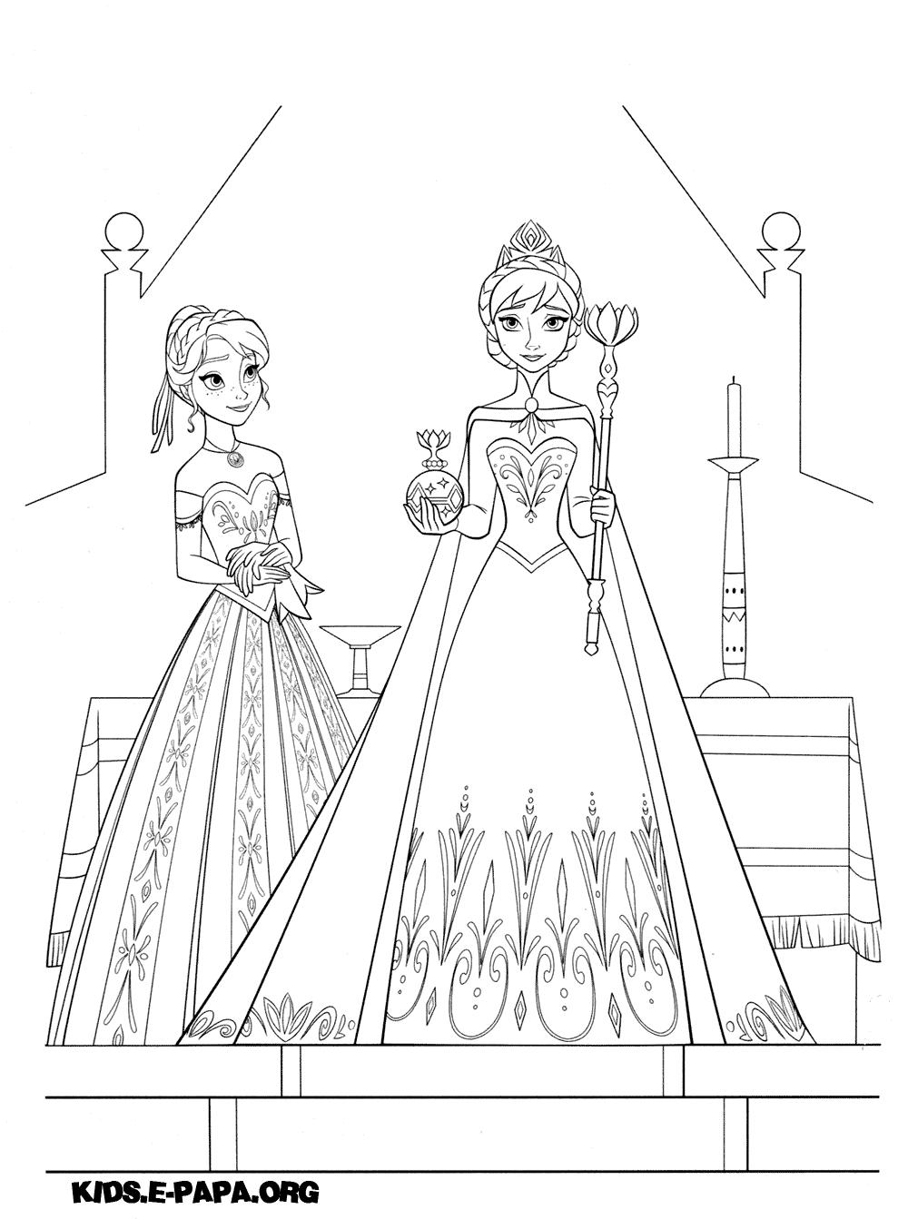 Ausmalbilder Anna Und Elsa : Ausmalbilder F R Kinder Elsa Und Anna