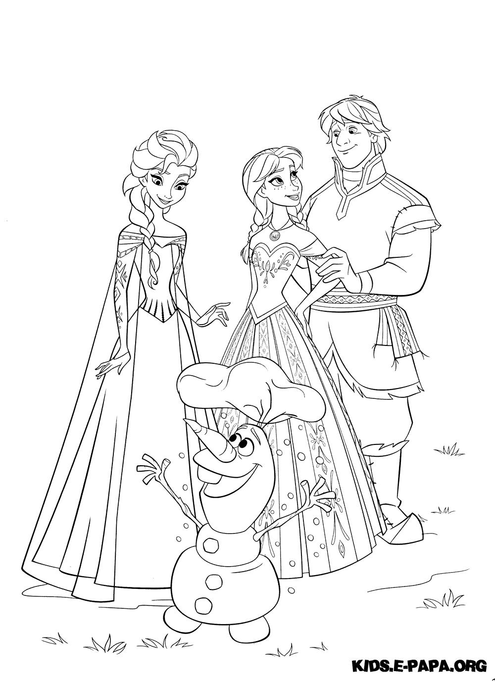 Ausmalbilder Für Kinder Kristoff Elsa Und Anna